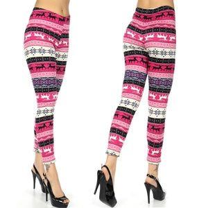 861f264000c7a5 Pants | Faux Fur Lined Snowflake Reindeer Leggings Pink | Poshmark